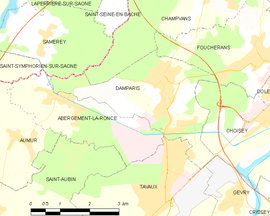 Mapa obce Damparis