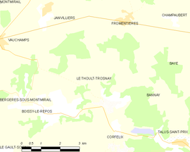 Mapa obce Le Thoult-Trosnay
