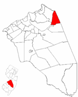 North Hanover Township highlighted in Burlington County. Inset map: Burlington County highlighted in the State of New Jersey.
