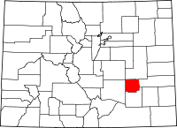 Map of Colorado highlighting Crowley County