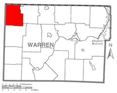Map of Columbus Township, Warren County, Pennsylvania Highlighted.png