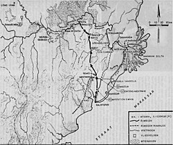 Map of East Borneo. The arrow shows the Dutch troops' line of retreat from Balikpapan in January 1942.jpg