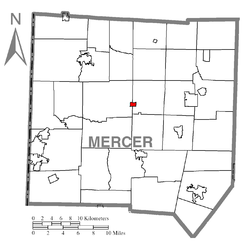 Location of Fredonia in Mercer County