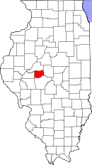 Map of Illinois highlighting Menard County