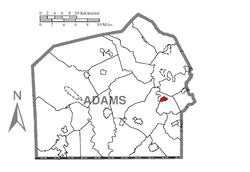 Map showing New Oxford in Adams County