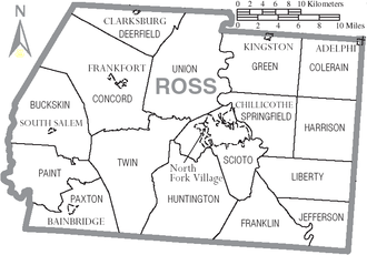 Ross County, Ohio - Map of Ross County, Ohio With Municipal and Township Labels