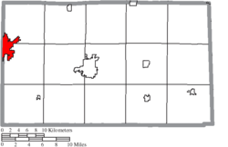 Location of Fostoria in Seneca County