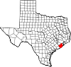 State map highlighting Brazoria County
