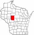 Map of Wisconsin highlighting Clark County.png