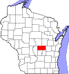 State map highlighting Waushara County