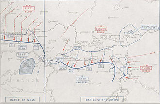 Battle of Mons - Image: Map of the Battles of Mons and Charleroi