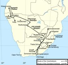 洪帕塔--Map of the Route of the Dorsland Trekkers