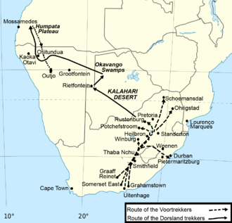 Dorsland Trek - Map of the Route of the Dorslandtrekkers (solid line)
