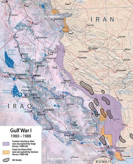 Furthest ground gains Map of the frontlines in the Iran-Iraq War.jpg