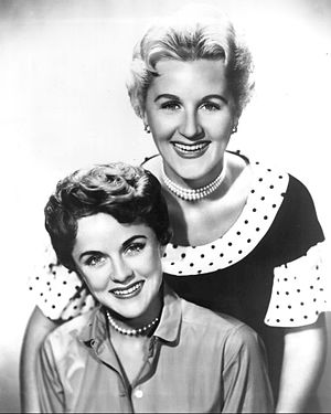 Barbara Whiting Smith - The Whiting sisters in 1955; Barbara is the brunette and Margaret is the blonde.