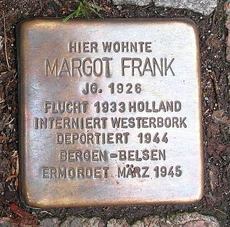Margot Frank - Stolperstein for Margot Frank at the Pastorplatz in Aachen, Germany