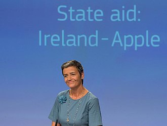 "Double Irish arrangement - Margrethe Vestager, announcing Apple's €13 billion fine for Irish taxes avoided from 2004–14 via an illegal ""Double Irish"" BEPS scheme"
