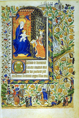 Margaret, Countess of Vertus - A folio from the Book of Hours of Margaret of Orléans, western France, commissioned around 1430. The combined arms of Brittany and Orléans appearing behind the lady praying to the Virgin indicate that this book was produced for Marguerite d'Orléans. The artist's decorative genius is affirmed most strongly in the imaginative borders