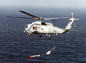 Light Airborne Multi-Purpose System - An SH-60B Seahawk helicopter releasing a Mark 46 torpedo