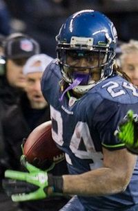 88124a34 Marshawn Lynch scored on a 67-yard touchdown run in the NFC Wild-Card  Playoff Game against the New Orleans Saints in 2011.