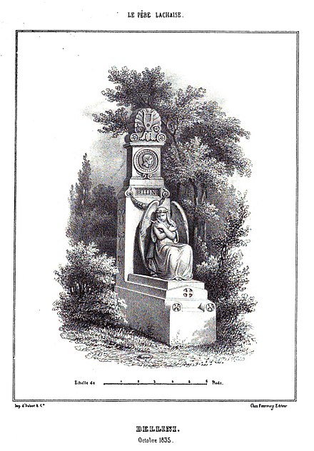 Monument to Bellini erected in 1839 at Pere Lachaise cemetery Marty - Les principaux monuments funeraires - Bellini.jpg