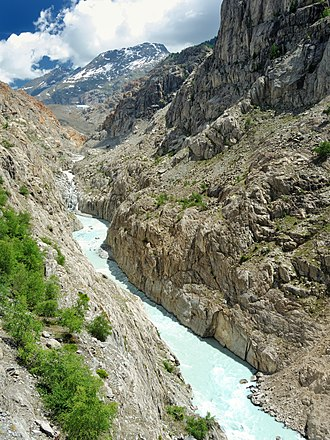 Massa (river) - The Massa flows through a steep sided gorge. In the distance is the Aletsch Glacier, which sources the melt-water.