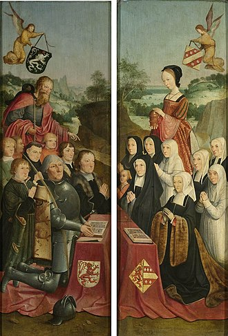 Kennemerland - Two panels by the Master of Alkmaar dated 1490-1510, with a Kennemer dunescape in the background.