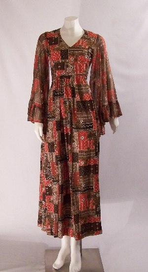 Bell sleeve - A vintage maxi dress from the 1970s featuring bell sleeves.