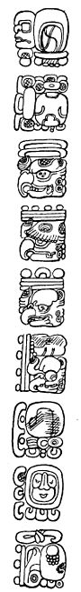 Fig. 58. Part of the inscription on Stela N, Copan, showing a number composed of six periods.