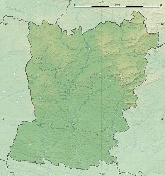 Blank physical map of the department of Mayenne, France, as in February 2011, for geo-location purpose, with distinct boundaries for regions, departments and arrondissements.