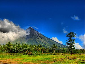 Mayon Volcano, an active volcano located in Albay, Philippines.
