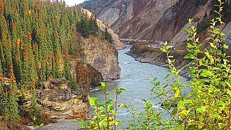 McKinley Park, Alaska - George Parks Highway at the Nenana River in McKinley Park.