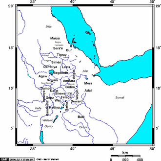 Amda Seyon I - Map of medieval Ethiopian provinces, with sub-provinces in smaller lettering and neighboring groups in italics.