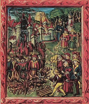 Rejection of Jesus - An illustration from a medieval manuscript. Top: Jews (identifiable by rouelle) reject Jesus. Bottom: Jews are being burned at stake.