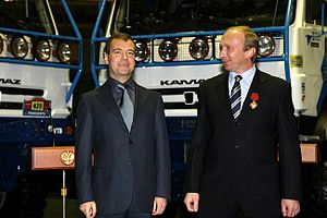 Vladimir Chagin - Vladimir Chagin (right) with Russian President Dmitry Medvedev (left), 26 October 2010