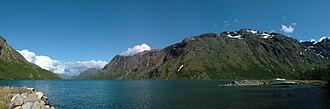Jotunheimen - At Memurubu, looking over Lake Gjende towards Gjendebu