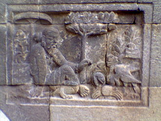 Panchatantra - A 'Panchatantra' relief at the Mendut temple, Central Java, Indonesia.