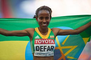 2013 World Championships in Athletics – Women's 5000 metres - Gold medalist Meseret Defar