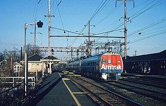 Princeton Junction station - Amtrak Metroliner passing through the station in 1978
