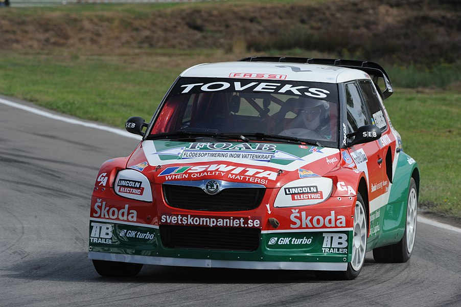 Swedish rallycross driver Michael Jernberg in his Škoda Fabia II Division 1 car. At Round 7 of the 2010 FIA European Rallycross Championship at Duivelsbergcircuit, Belgium