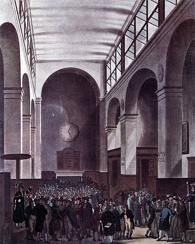 London Stock Exchange in 1810 Microcosm of London Plate 075 - New Stock Exchange (tone).jpg