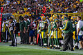 Mike McCarthy and Green Bay Packers sideline - San Francisco vs Green Bay 2012.jpg