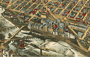 Mill District, Minneapolis - Lithograph of the Mills District, 1895.
