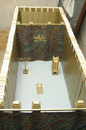 Holy of Holies - A model of the Tabernacle showing the holy place, and behind it the Holy of Holies