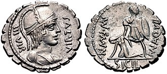 Aquillia (gens) - Denarius of Manius Aquillius, 65 BC.  On the obverse is Virtus. The reverse depicts the consul Manius Aquillius raising an allegory of Sicily, an allusion to his victory in the Second Servile War.