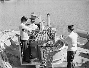 Crewmen with a Molins Molins autoloading 57-mm gun on a Fairmile D boat during World War II