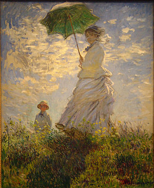 Sun tanning - La promenade (1875) by Claude Monet. At that time in the West, the upper social class used parasols, long sleeves and hats to avoid sun tanning effects.