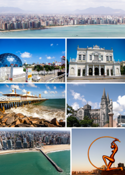 Clockwise from top: Panorama view of downtown Aratanha and Maranguape area, Theatro José de Alencar, Fortaleza Metropolitan Cathedral, A monument of the Guardian of Iracema in Iracema Beach, Meireles Beach, Ingleses Bridge in Iracema Beach, Dragão do Mar Center of Art and Culture
