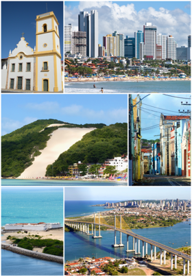 From top, left to right: Igreja Matriz de Nossa Senhora da Apresentação (Catedral Velha), in the historic center; Ponta Negra Beach and the namesake neighborhood; Morro do Careca; Chile street; Forte dos Reis Magos; and Newton Navarro Bridge and Potenji River, with a partial view of the neighborhood Santos Reis in the background.
