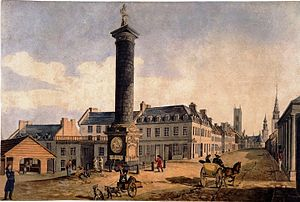 Nelson's Column, Montreal - Nelson's Column and Notre Dame Street in 1830